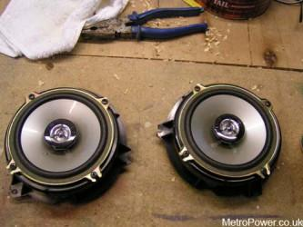 two speakers mounted ready to re-fit back into car