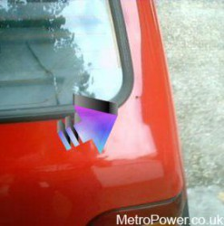 bottom of boot lid hole for spoiler