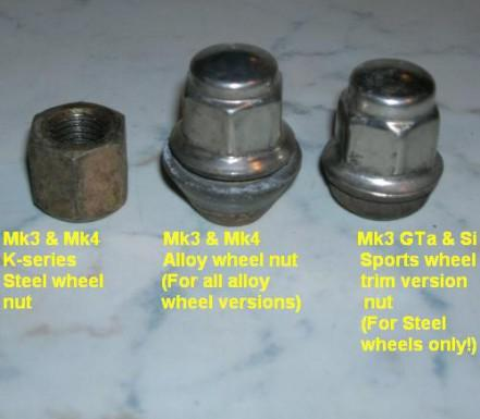 k-series rover metro and  rover100 wheel nut types