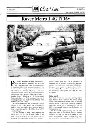 Car Test - Rover Metro 1.4GTi