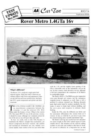 Car Test - Rover Metro 1.4GTa