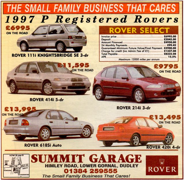 Summit Garage Rover adverts (1997)