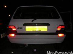 Twin rear fog lights